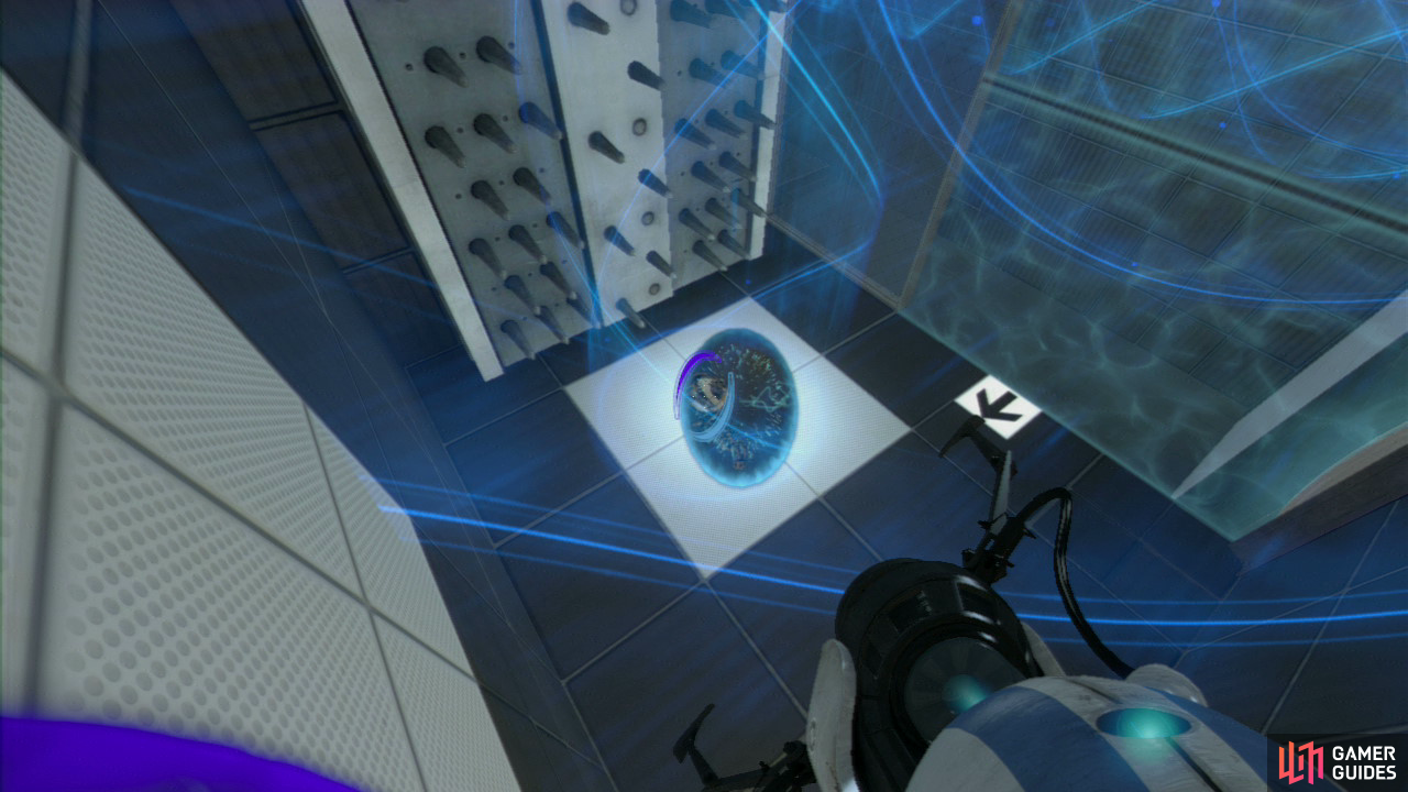Player 1: Jump into the funnel and once you pass through the force field, set a portal on the wall in front of you and then on the panel on the floor. Once you reach the top you need to be in constant communication to get through the rest of the course (so this is where you'll both preferably have access to a headset).