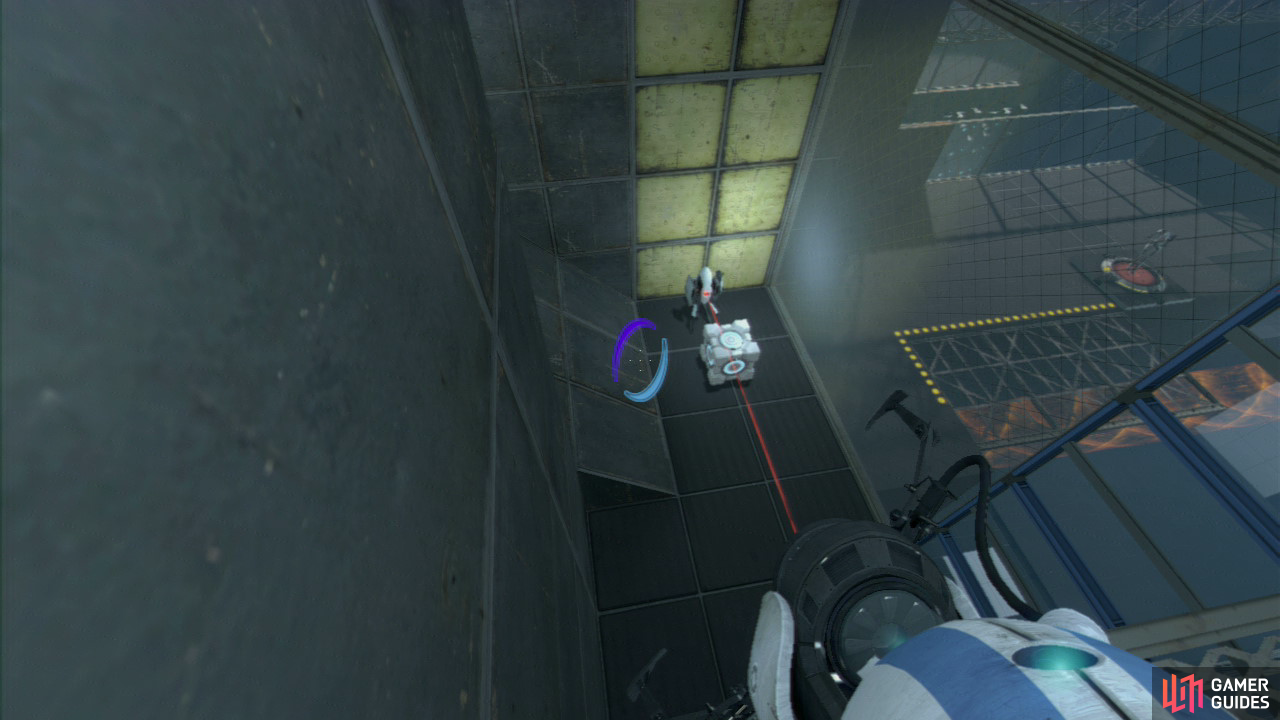 Player 1: Quickly get the portal funnel on the wall and ask player 2 to step onto the red button again. As you approach the platform below, step out of the excursion funnel and peer of the edge and you should spot a turret guarding the Companion Cube. Jump down and to the left of the Turret (making it much harder to spot you in time), pick up the Cube and use it to knock the turret over, disabling it.