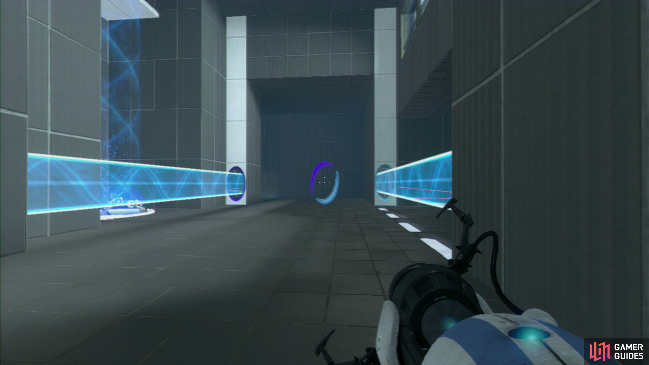 Player 1: As soon as you land, turn left and then get a portal on the thin wall panel where the vertical light bridge is hitting, then look for an identical thin wall panel to your right. Set your second portal here, extending the light bridge and blocking off the turrets tucked away on the right side.