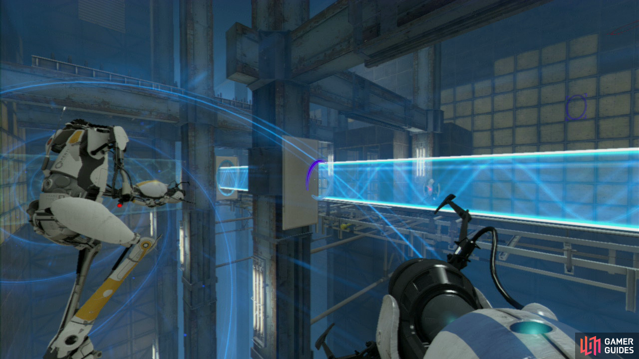 Player 1: Both of you should jump into the funnel and you'll be carried over a chasm with spike panels all around and a conveyor belt of infinite turrets directly below you. So as you're passing over the metal spikes, look down towards the conveyor belt below and directly under the left-hand metal girder is a thin rectangular wall panel. Get a light-bridge here so it'll protect both of you from the turrets in just a moment.