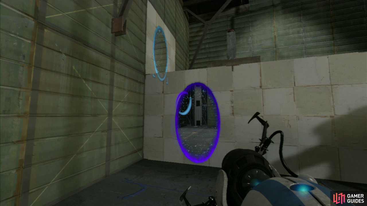 Player 1: As soon as the chamber starts, hang a left and place a portal on the side of the ledge and then on the single wall panel located just above on the left-hand wall. Once you're up beside the red button, push it to drop some repulsion gel onto the floor near the lift.