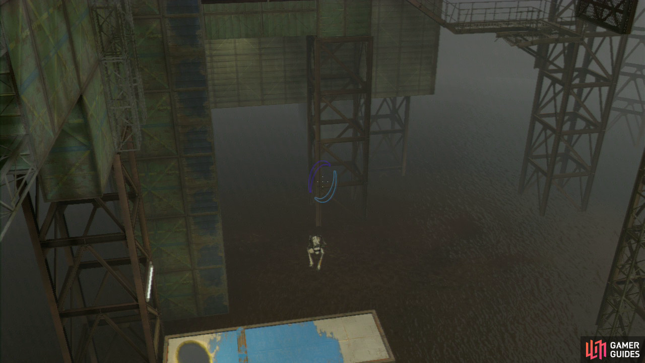 Player 2: Take a run and jump off of the ledge down onto the first platform below, bounce across to the second platform and you should land right by the exit. Now, look down to the right and there's a wall panel here where you need to place an excursion funnel so it's travelling directly below you in a horizontal direction.