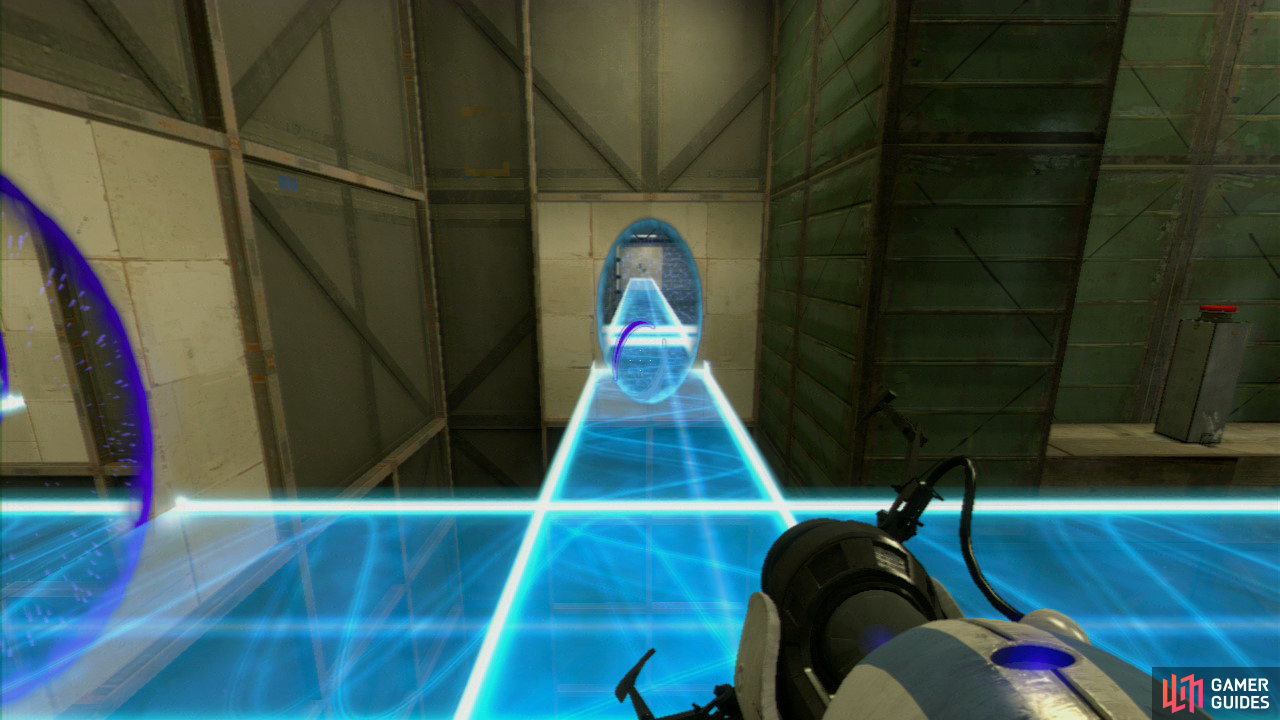 Player 1: Once you're standing on the light bridge, turn left and at the bottom, set a portal on both of the wall panels down here. This'll allow player 2 to traverse to the other side, past the force field. In preparation, stand right beside the red button, getting ready to press it.