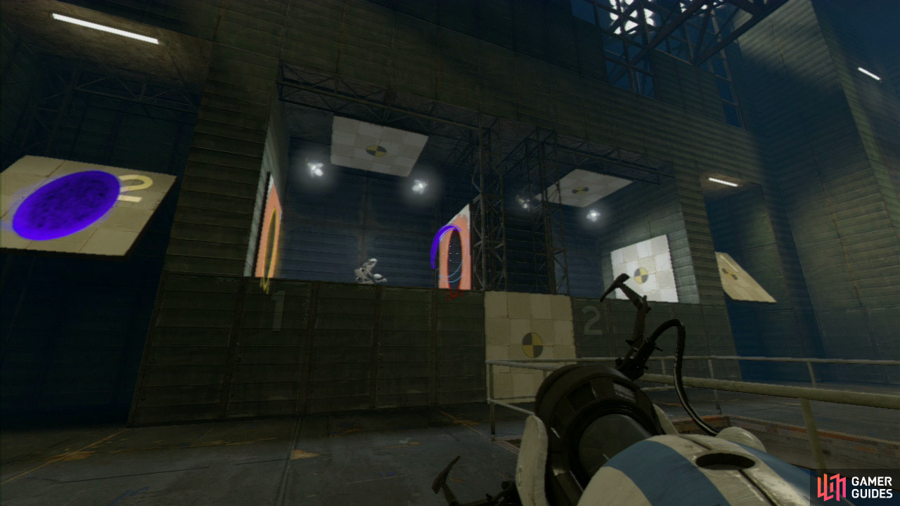 Player 1: Once player 2 has started to run in a loop, set a portal on slanted panel '2' and then aim your portal gun at the right-hand wall and fire off your second portal just as they pass through their own portal on the right and this will allow them to shoot through and towards the spike plates. You'll ideally want to listen out for the sound of them crashing down before you set your second portal off.