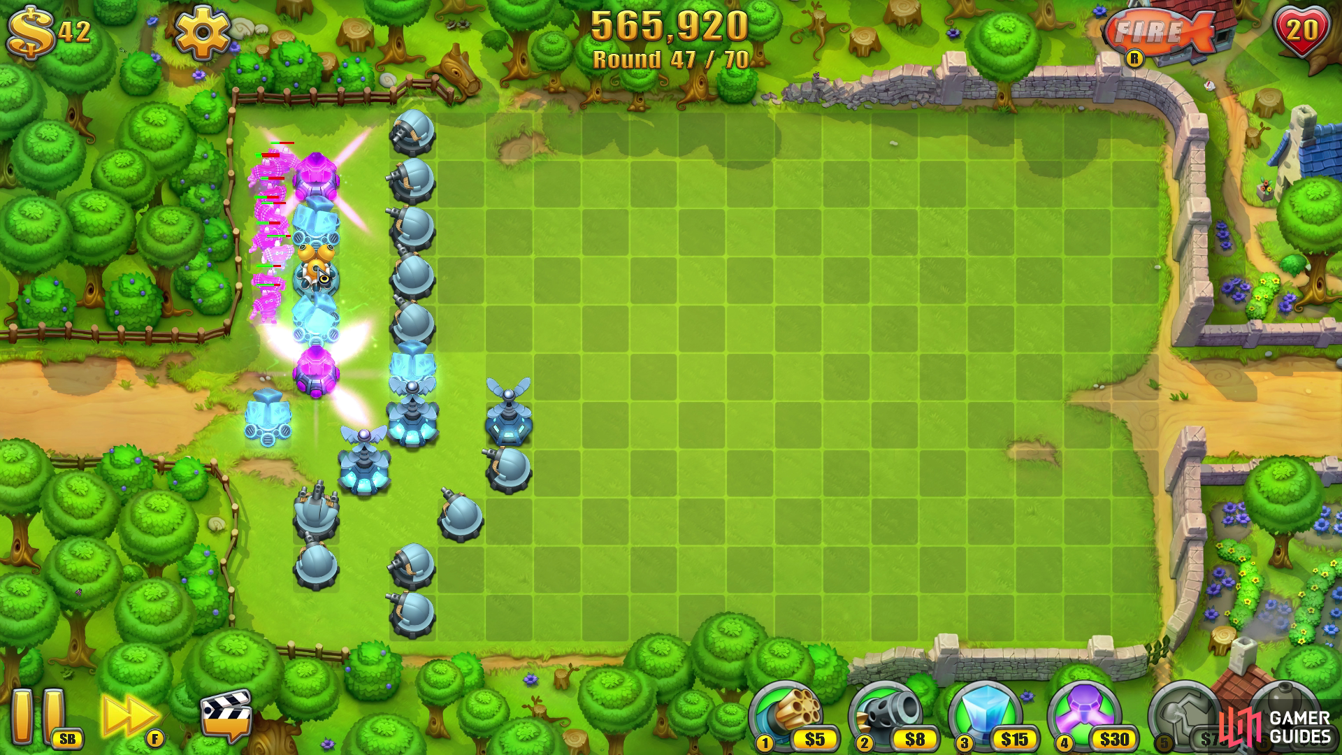 Funneling enemies down a narrow path of towers will cause maximum damage if you line up your towers correctly.