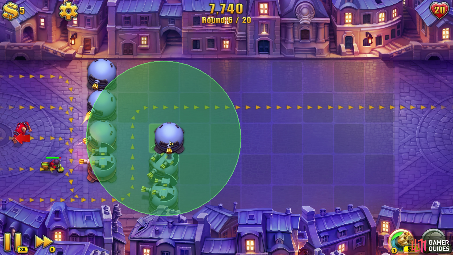 Once you're prompted to use the Glue Tower... don't. Instead you should use the free coins to drop another two Gatling Towers so you're creating a U-bend that goes towards the top of the map.