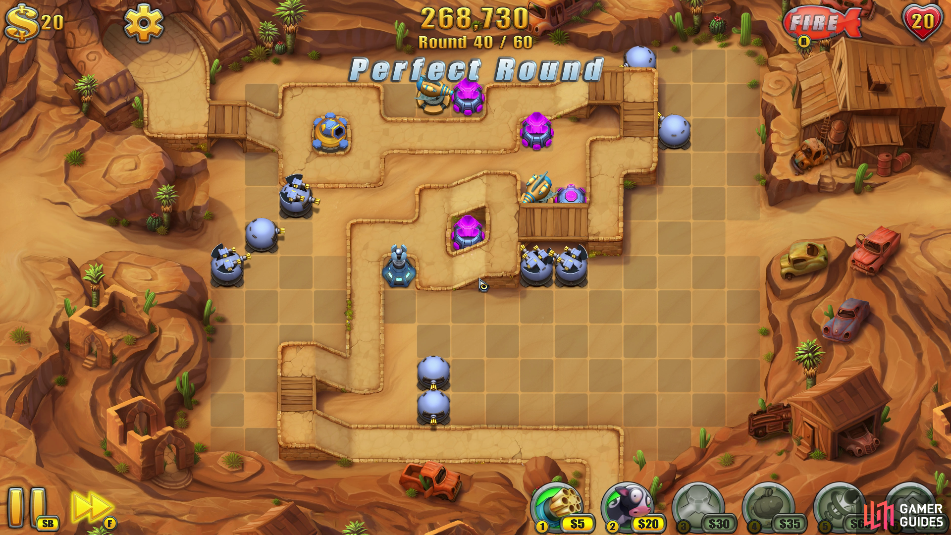 It's always wise to use runner-neutral towers on a map with multiple runner varieties. This ensures they'll all take guaranteed damage at the same rate.