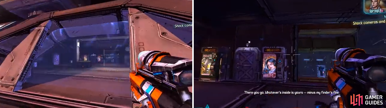 This is the entrance to the room with the safe (left). On the right is a good spot to stand when your shields are depleted and the nova goes off to shock the cameras and safe.