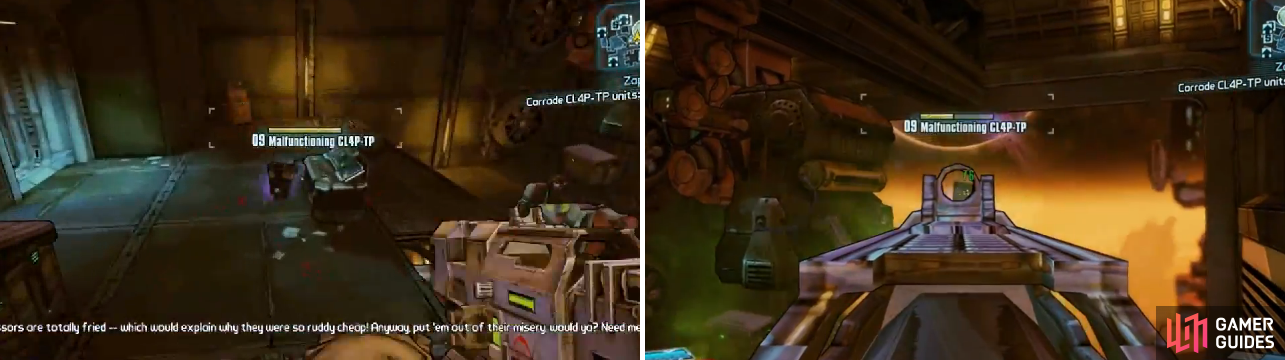 All of the malfunctioning Claptrap units are close to each other and can easily be seen thanks to the electricity they're emitting.