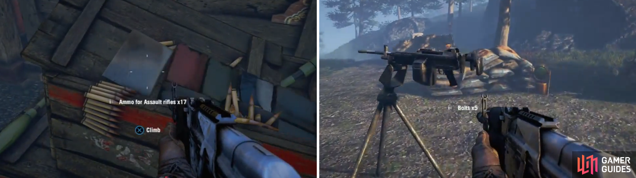 The ammo box will replenish your ammo, should you need more, and the mounted gun will make short work of the Hunters.