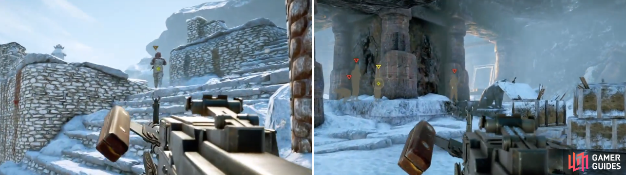 Your goal is to kill the lieutenant with your knife, so use any opportunity when you can. Otherwise, you might end up with a difficult situation, like in the right screenshot.