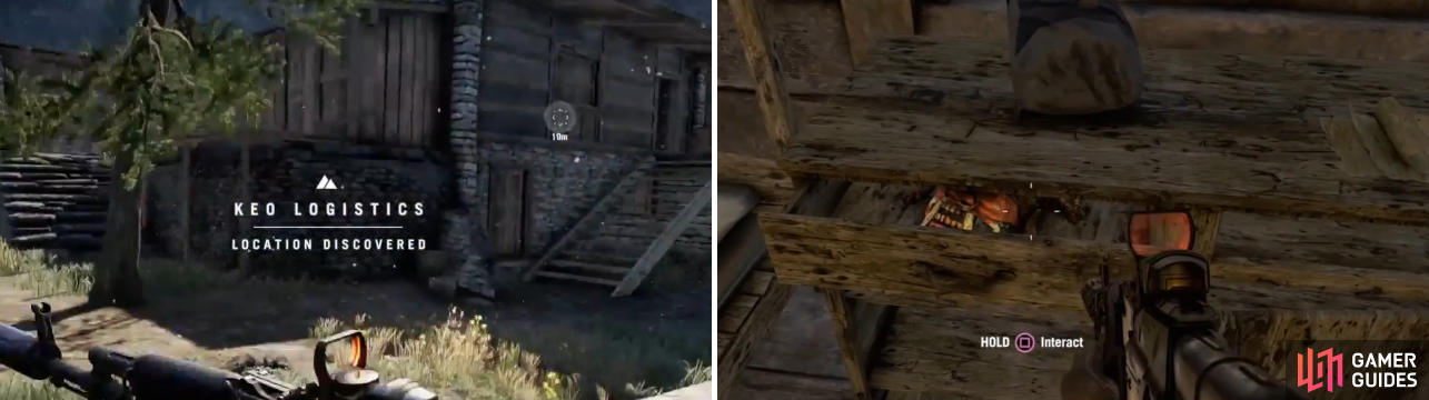 The one mask (from the set below) in the log building is located inside of the drawer of the dresser in between the two beds, which can be hard to see since only a part of the mask is showing.