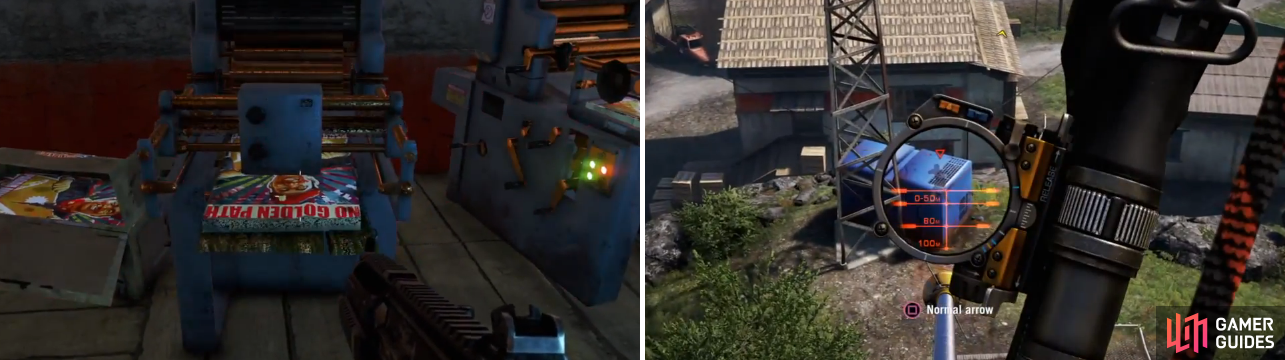 Most of the tools you need to destroy are inside the buildings (left), but a few things are outside of them and don't appear on the map (right).