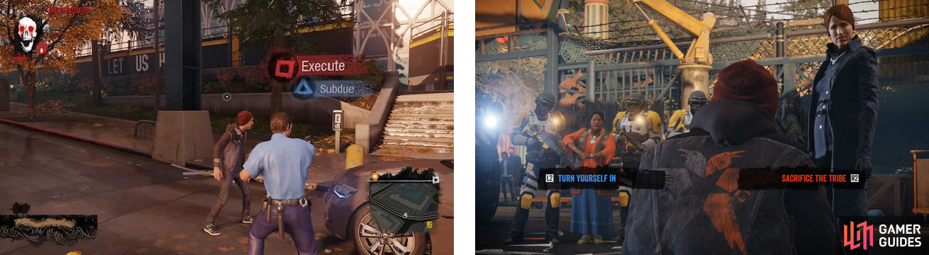 We see Delsin facing a choice in gameplay and the Evil Karma Bomb in the upper left (left), as well as one of the Karma Moments in the story (right).