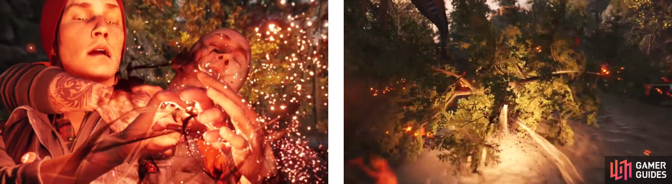 Delsin absorbing the powers from the escaped convict (left) and utilizing them to pass through a fallen tree (right).
