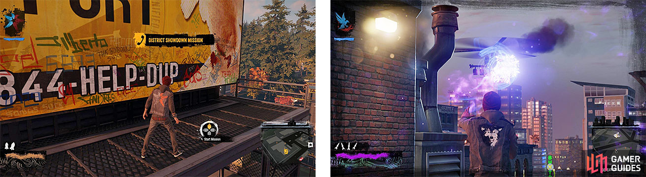 Delsin getting ready to start a District Showdown (left), and fighting a helicopter sent after him during one (right).