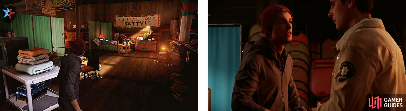Delsin looking at an injured Betty (left), and talking with his brother about what to do next (right).