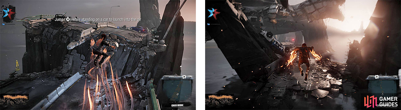 Delsin learns two new abilities while crossing the bridge, like launching from cars (left) and hovering in the air (right).