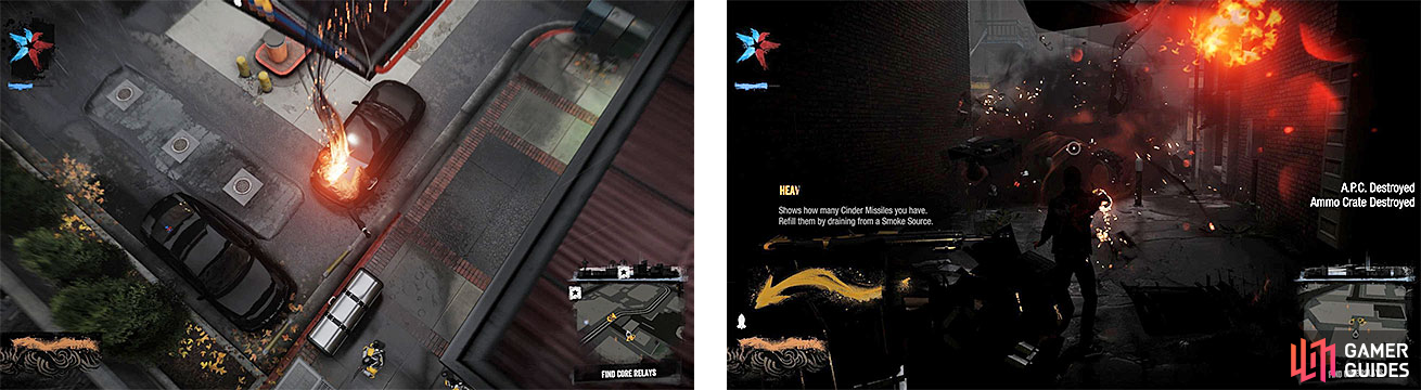 Delsin gains some new abilities, like the Comet Drop (left) and Cinder Missiles (right).