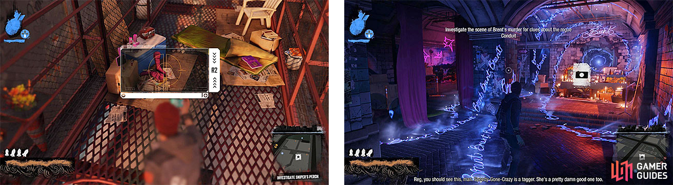 We get a look at the sniper's nest (left), as well as what looks like a shrine of some sorts (right).