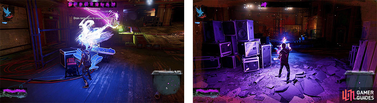 You will need to drain all the neon first (left), then you can pick Fetch off with ranged shots (right).