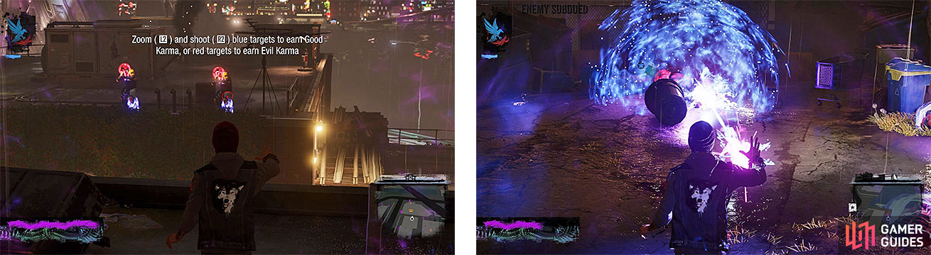 We can see Delsin practicing two new abilities, Laser Insight (left) and Stasis Bubble (right).