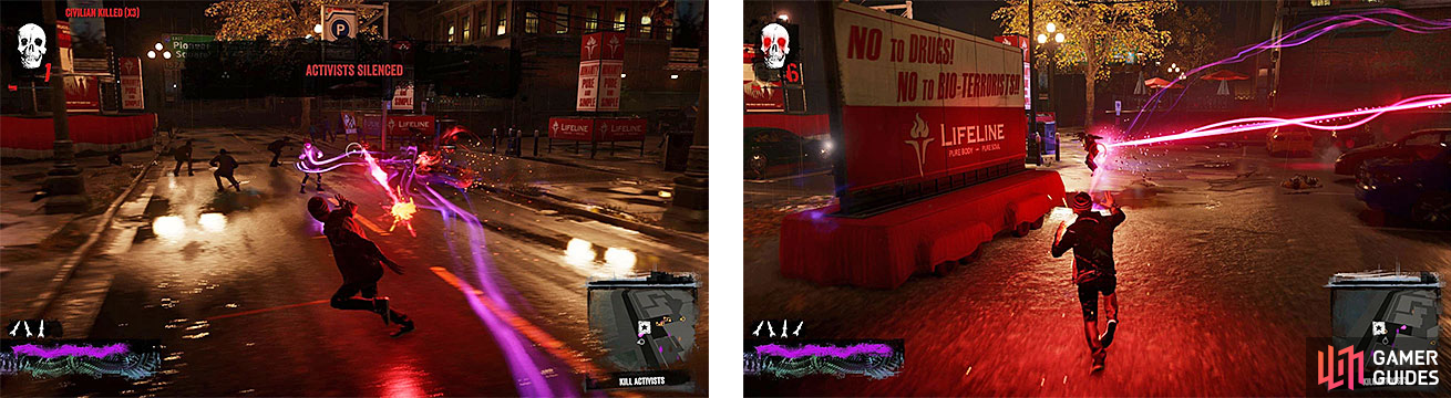 Delsin taking care of the anti-Conduit activists (left), but some DUP agents decide to come rain down on your parade (right).