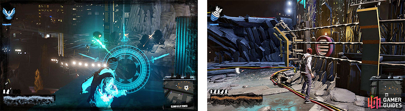 There are enemies to clear at the tower's entrance, who are guarding the vent needed to start climbing (right).