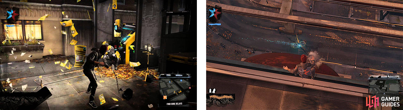 The Scanning Stations (left) house some Blast Shards, as do the Tracker Drones (right) flying around.