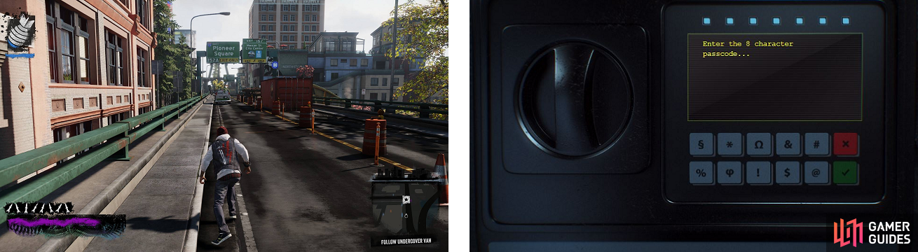 Follow the van and take out all the enemies (left), then you can go to your Paper Trail profile and try to open the safe (right).