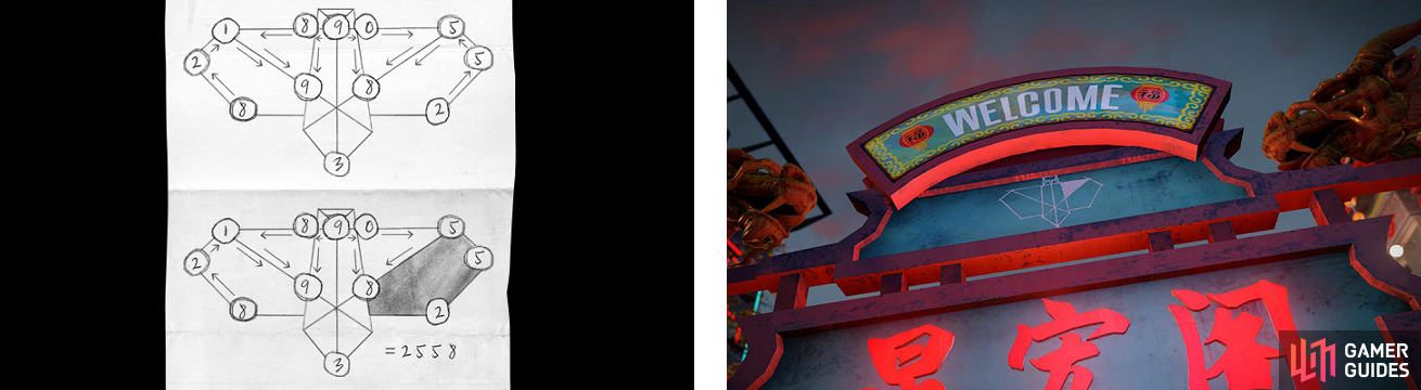 An example of a dove cipher (left), as well as one of the photos taken in-game of one of the dove markers (right).