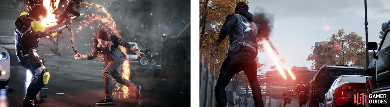 Delsin's melee attack while using Smoke (left), and the regular Smoke Shot (right).