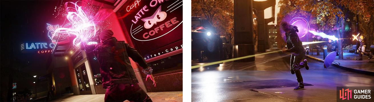 Store signs are one of the sources Delsin can use to refill his Neon energy (left). We also see his Neon Beam attack, which is the standard R2 shot (right).