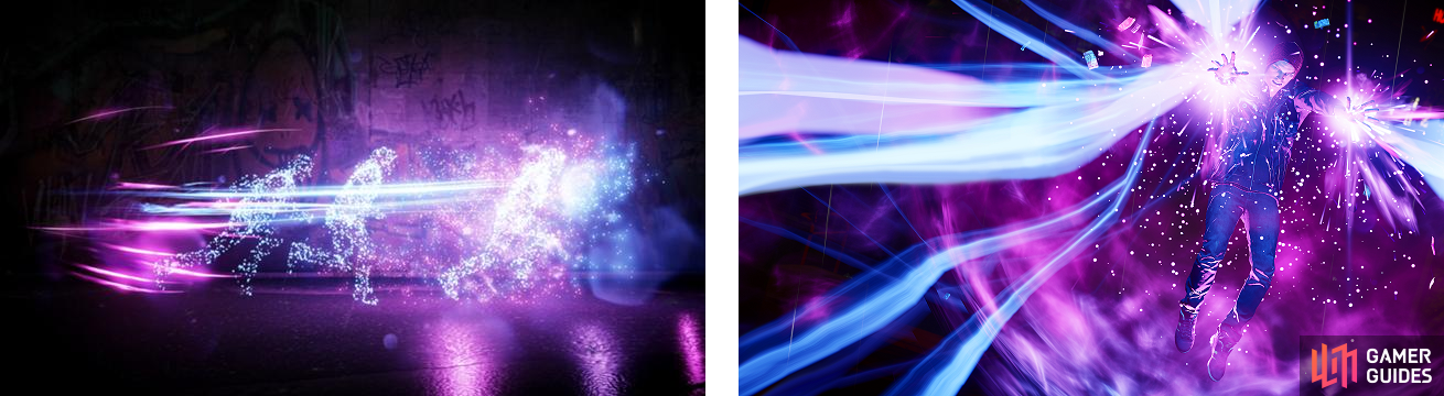 Delsin using Light Speed on the left, and unleashing the Karma Bomb for Neon, Radiant Sweep, on the right.