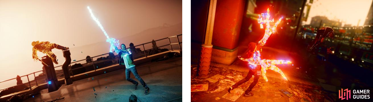 We see both instances of the melee attack for Video, with Delsin using a sword for Good Karma (left) and some claws for Evil Karma (right).