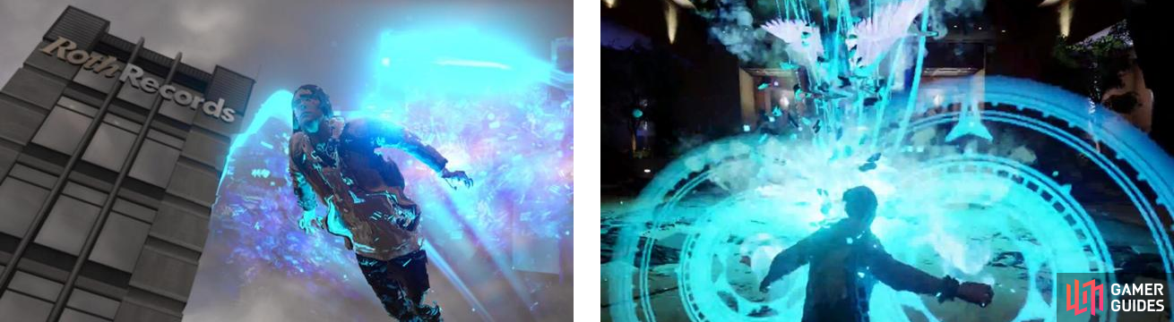 Delsin dashing in the air (left) and unleashing the Karma Bomb for Video, Hellfire Swarm (right).