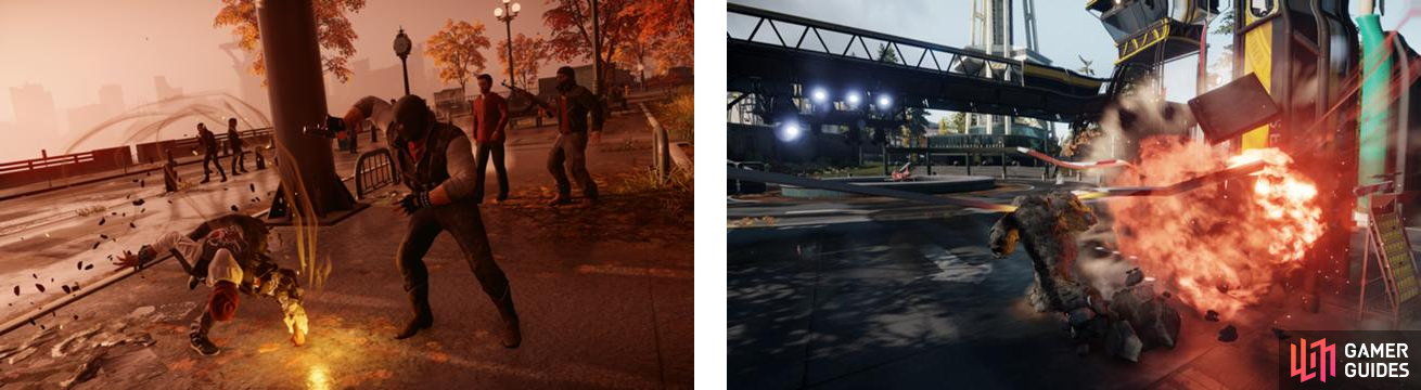 Delsin punches the ground for his melee attack when using Concrete (left) and covers himself with it when dashing (right).