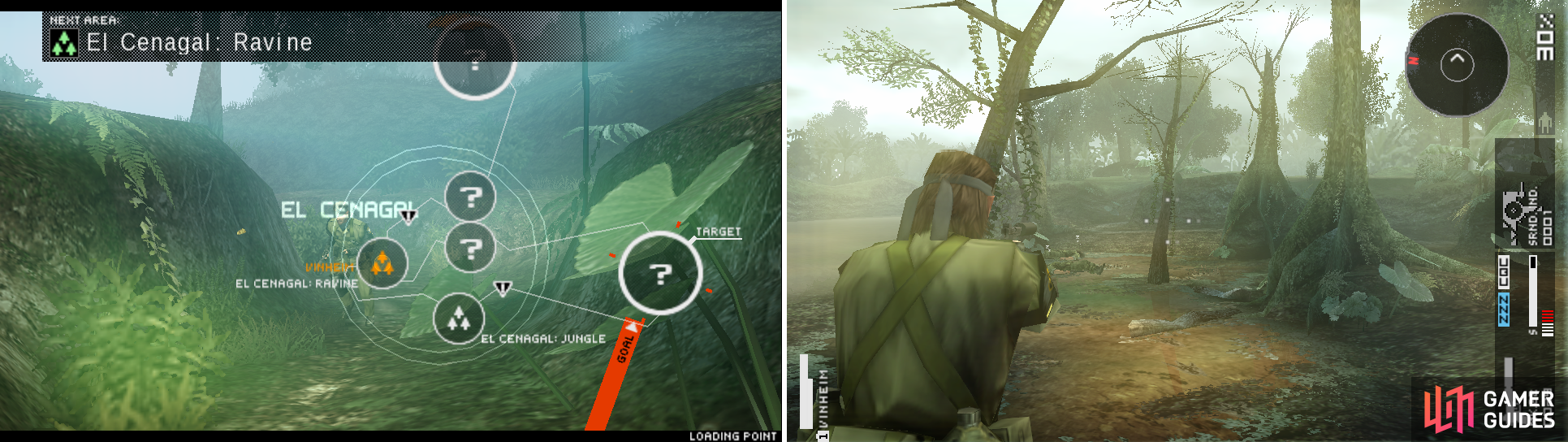 Entering El Cenegal: Ravine where there are no enemies (left picture) and once at El Cenegal: Swamp (right picture) which is marked as the best place to shoot down all 3 enemies.