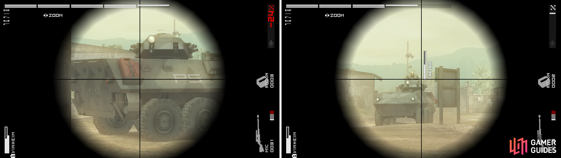 If you decide to go for the tank, the fuel containers are its weakness (left picture). The commander comes out of the vehicle waiting for you to headshoot him (right picture).