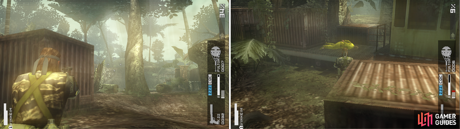 The sniper located on a cliff to the north. Snipe him down with your Mk22 if possible (left picture) and a POW on the train (right picture).
