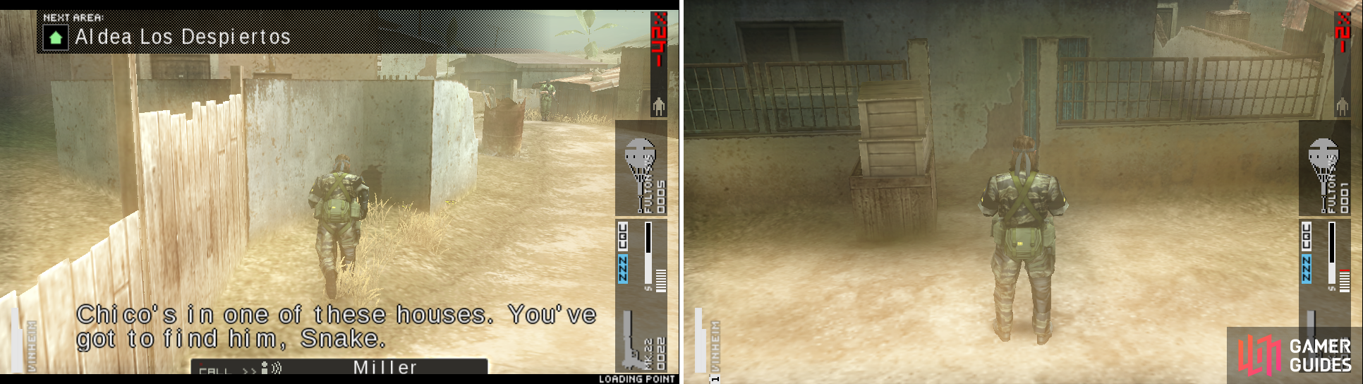 Hide on the left side as soon as you enter the area (left picture). This is the house you have to enter to end the OPS (right picture).