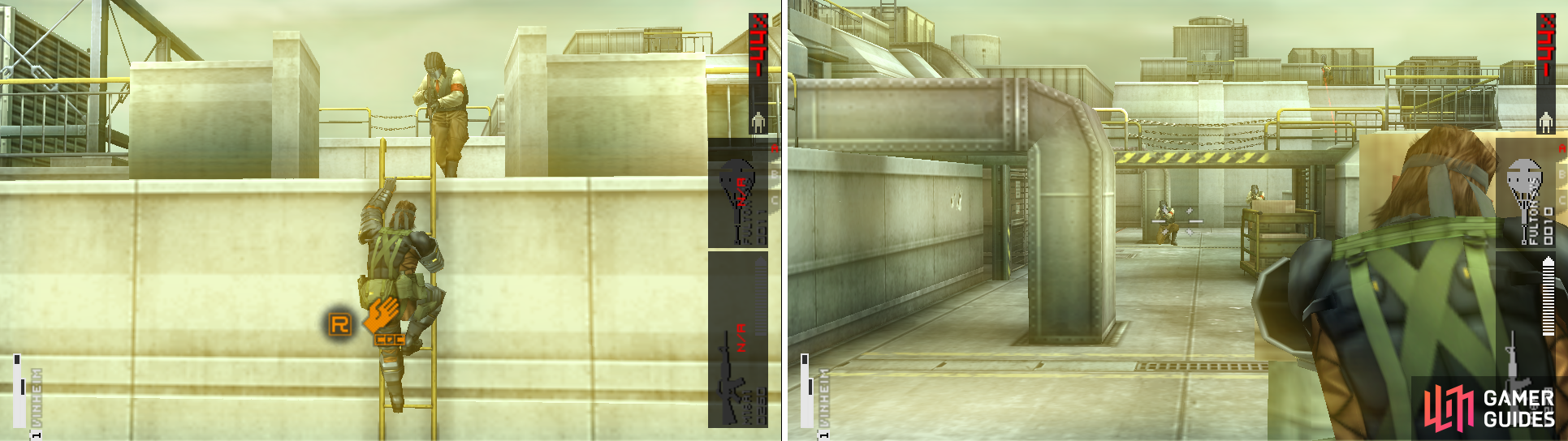 You can CQC the enemies from the ladder (left picture). Be careful of the sniper on the east side (right picture).
