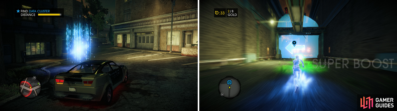 The clusters (left) are fairly easy to find, as long as you keep an eye out for the meter in the upper left. After purchasing your new Super Powers, you get the chance to try them out (right) in one of the game's activities.
