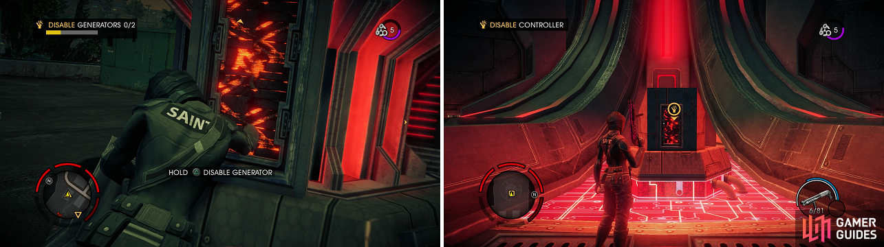 You have to take out all of the generators (left) before the dome covering the central control mechanism (right) disappears.