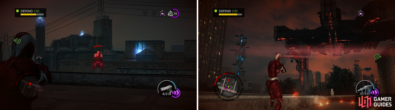 The Zin on flying vehicles are annoying (left), but the ship is definitely more dangerous (right).