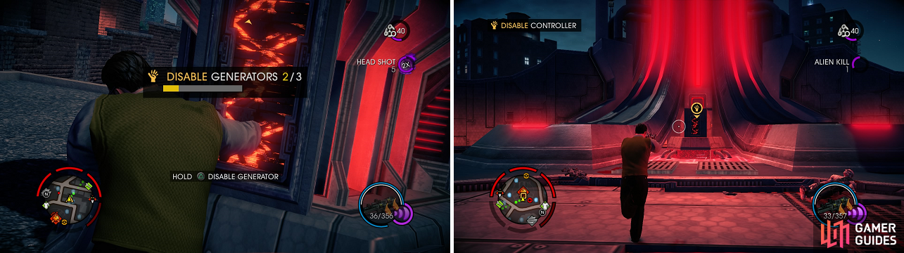 Disable the generators (left) to bring down the shield, so you can shut down the Hotspot's main control panel (right).