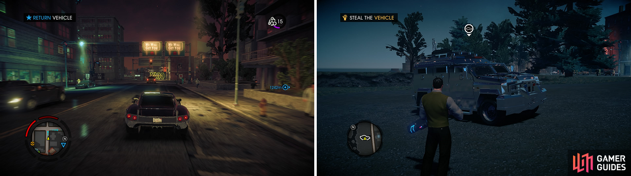 Some vehicles are moving when you have to get them, while others are stationery and guarded by a few enemies.
