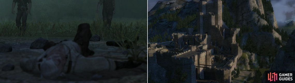 Pursued by the Wild Hunt, an exhaused Geralt collapses (left) and is brought to the fortress of Kaer Morhen to recover (right).