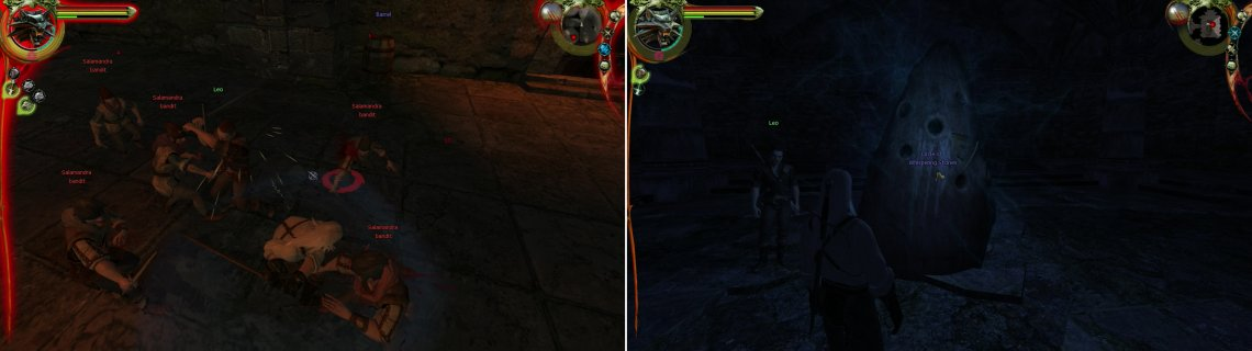 "Use the Group Style when you're fighting three or more foes at once, as it'll do great damage in these situations (left). Activate the ""Circle of Whispering Stones"" to learn the Aard sign (right)."