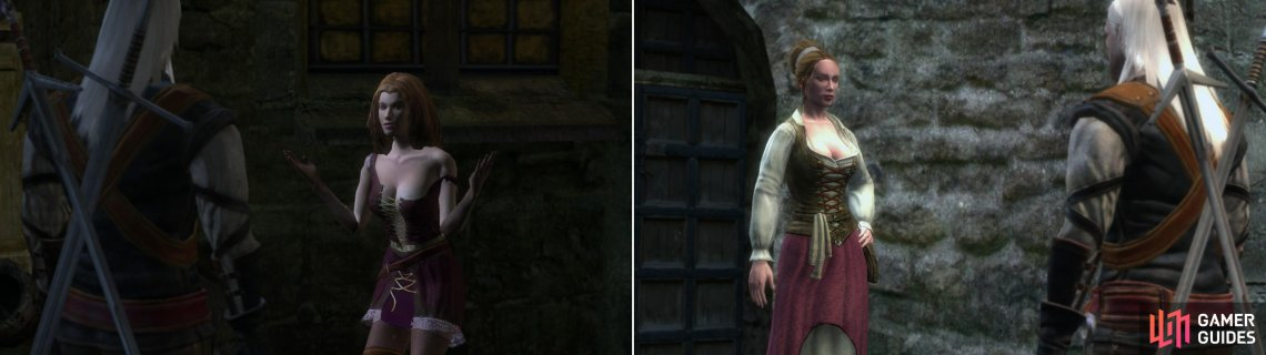 "Gossip with Gossip and provide her with some Red Women's Gloves, and she'll decide she needs to see more of the ""White Wolf"" (left). Carmen, the prostitute, is somewhat more chaste. She has work for you-not Witcher's work-but work, nonetheless (right)."
